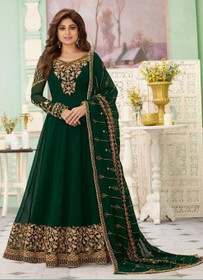 Dark Green color Full Sleeves Floor Length Embroidered Real Georgette Fabric Anarkali style Suit