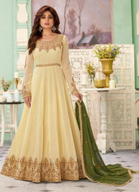 Cream color Full Sleeves Floor Length Embroidered Real Georgette Fabric Anarkali style Suit