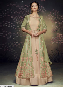 Beige and Olive Green color Full Sleeves Floor Length Net and Satin Silk Fabric Gown