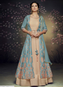 Beige and Blue color Full Sleeves Floor Length Net and Satin Silk Fabric Gown