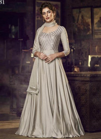 Silver color Full Sleeves Floor Length Satin Fabric Gown
