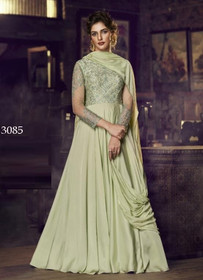 Olive Green color Full Sleeves Floor Length Satin Fabric Gown
