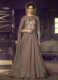 Grey color Full Sleeves Floor Length Satin Fabric Gown