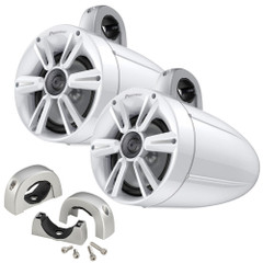 "Pioneer Audio 7.7"" 250W IPX7 Tower Speaker w\/RGB LED Lighting - Max Sports Grill- White  Mounting Clamps [TS-ME770TSW-K]"