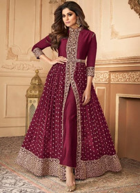 Dark Maroon color Floor Length Ban Neck Design Centre Cut Georgette Fabric Indowestern style Suit
