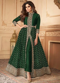 Bottle Green color Floor Length Ban Neck Design Centre Cut Georgette Fabric Indowestern style Suit