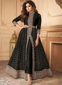 Black color Floor Length Ban Neck Design Centre Cut Georgette Fabric Indowestern style Suit