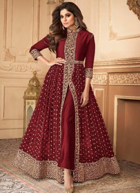 Maroon color Floor Length Ban Neck Design Centre Cut Georgette Fabric Indowestern style Suit