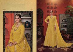 Yellow color Embroidered Heavy Georgette Net Fabric Centre Cut Indowestern style Suit