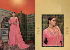 Pink color Embroidered Heavy Georgette Net Fabric Centre Cut Indowestern style Suit