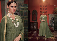 Soft Green color Embroidered Heavy Georgette Net Fabric Centre Cut Indowestern style Suit