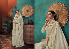 Ivory color Embroidered Heavy Georgette Net Fabric Centre Cut Indowestern style Suit