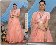Peach color Net Fabric Lehenga Choli