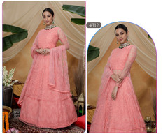 Peach color Floor Length Net Fabric Indowestern style Suit