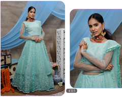 Blue color Floor Length Net Fabric Indowestern style Suit