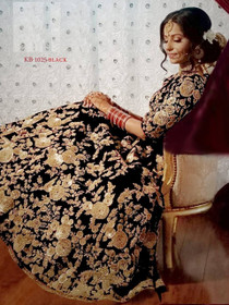 Black color Heavily Embroidered Velvet Fabric Lehenga Choli