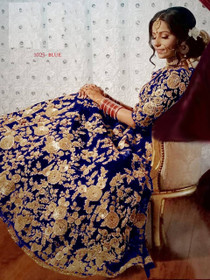 Indigo color Heavily Embroidered Velvet Fabric Lehenga Choli