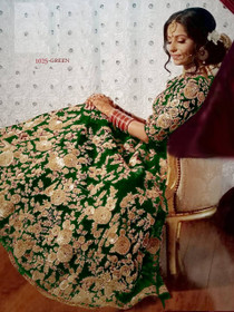 Green color Heavily Embroidered Velvet Fabric Lehenga Choli