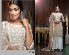 Light Coffee and White color Embroidery work Georgette Fabric Suit