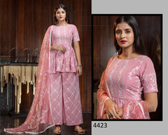 Pink color Embroidery work Georgette Fabric Suit