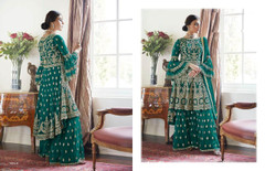 Peacock Green color Heavily Embroidery work Butterfly Net Fabric Indowestern style Suit