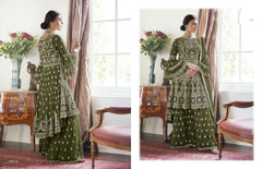 Leave Green color Heavily Embroidery work Butterfly Net Fabric Indowestern style Suit