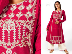 Pink and White color Embroidered Khadi Cotton Fabric Top and Bottom