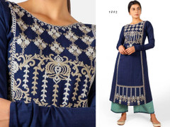 Double shade Blue color Embroidered Khadi Cotton Fabric Top and Bottom