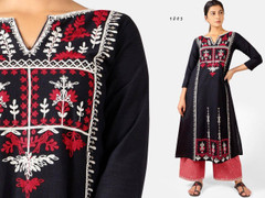 Black and Red color Embroidered Khadi Cotton Fabric Top and Bottom