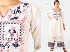 White and Blue color Embroidered Khadi Cotton Fabric Top and Bottom