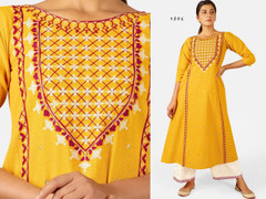 Yellow and White color Embroidered Khadi Cotton Fabric Top and Bottom
