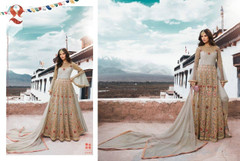 Grey color Net Fabric Full Sleeves Floor Length Embroidered Anarkali style Suit