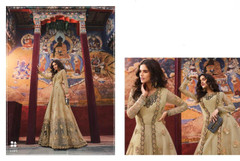 Beige color Silk and Net Fabric Full Sleeves Floor Length Embroidered Anarkali style Suit