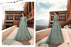 Blue color Silk Fabric Full Sleeves Floor Length Embroidered Anarkali style Suit