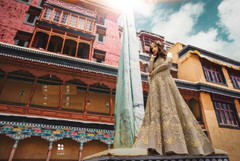 Grey color Banglori Silk Fabric Full Sleeves Floor Length Embroidered Anarkali style Suit