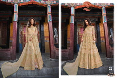 Beige color Silk Fabric Full Sleeves Floor Length Embroidered Indowestern style Suit