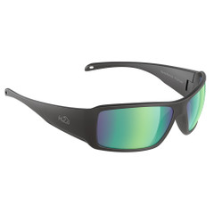 H2Optix Stream Sunglasses Matt Black, Brown Green Flash Mirror Lens Cat.3 - AntiSalt Coating w\/Floatable Cord [H2020]