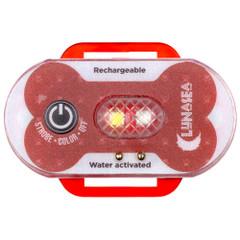 Lunasea Dog Safety Water Activated Strobe Light - RF Transmitter  Alarm Receiver - Red Case  Blue Attention Light [LLB-63RB-C0-K3]