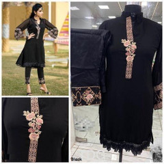 Black color Georgette and Pure Cotton Satin Fabric Top and Bottom