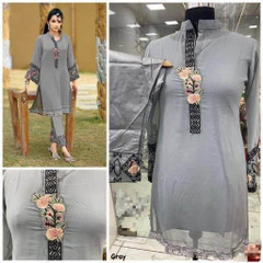 Grey color Georgette and Pure Cotton Satin Fabric Top and Bottom