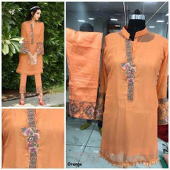 Orange color Georgette and Pure Cotton Satin Fabric Ban Neck Design Top and Bottom