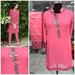 Pink color Georgette and Pure Cotton Satin Fabric Ban Neck Design Top and Bottom