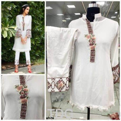 White color Georgette and Pure Cotton Satin Fabric Ban Neck Design Top and Bottom