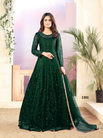 Dark Green color Full Sleeves Floor Length Embroidered Net Fabric Party wear Anarkali style Suit