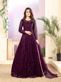 Purple color Full Sleeves Floor Length Embroidered Net Fabric Party wear Anarkali style Suit