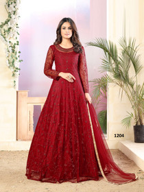 Red color Full Sleeves Floor Length Embroidered Net Fabric Party wear Anarkali style Suit