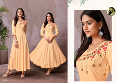 Peach color Heavy Rayon Fabric Gown