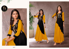 Yellow and Black color Heavy Rayon Fabric Gown