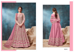 Pink color Net Fabric Heavily Embroidered Floor Length Anarkali style Suit