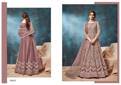 Light Wine shade Net Fabric Heavily Embroidered Floor Length Anarkali style Suit